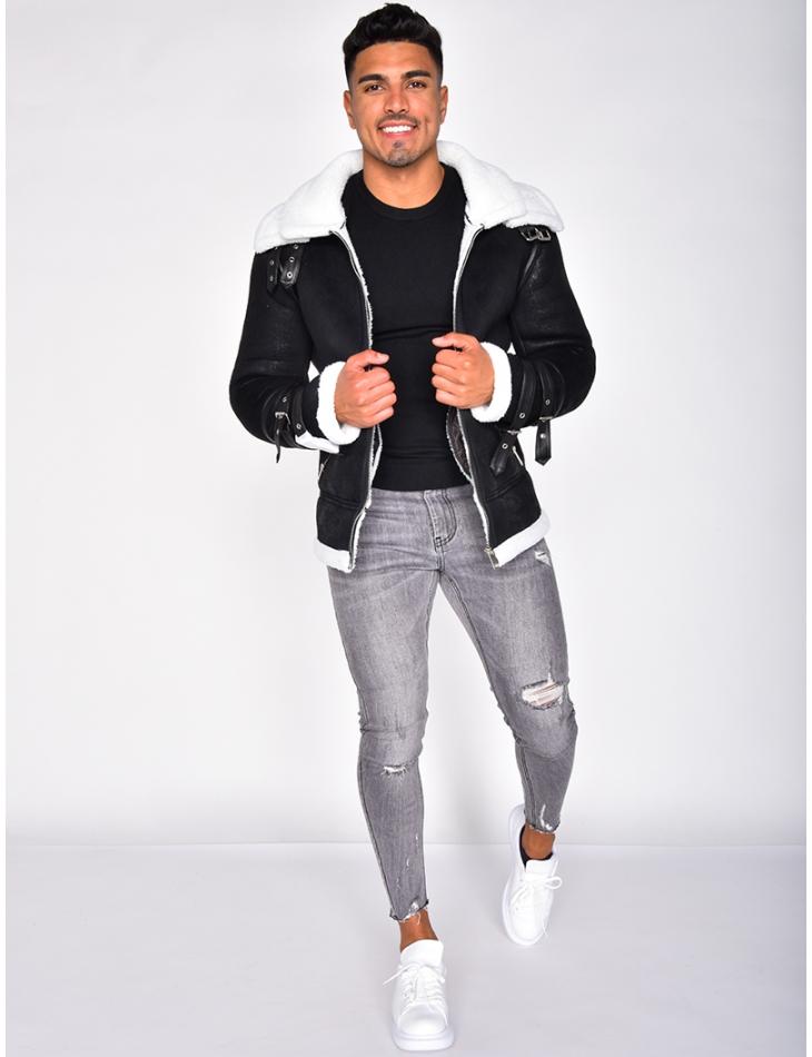 Sheepskin Style Jacket with Stripes