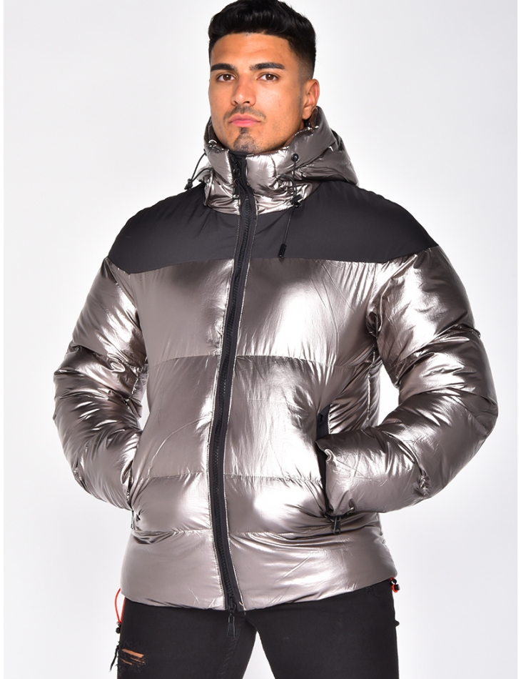 Bi Material Padded Jacket with Hood