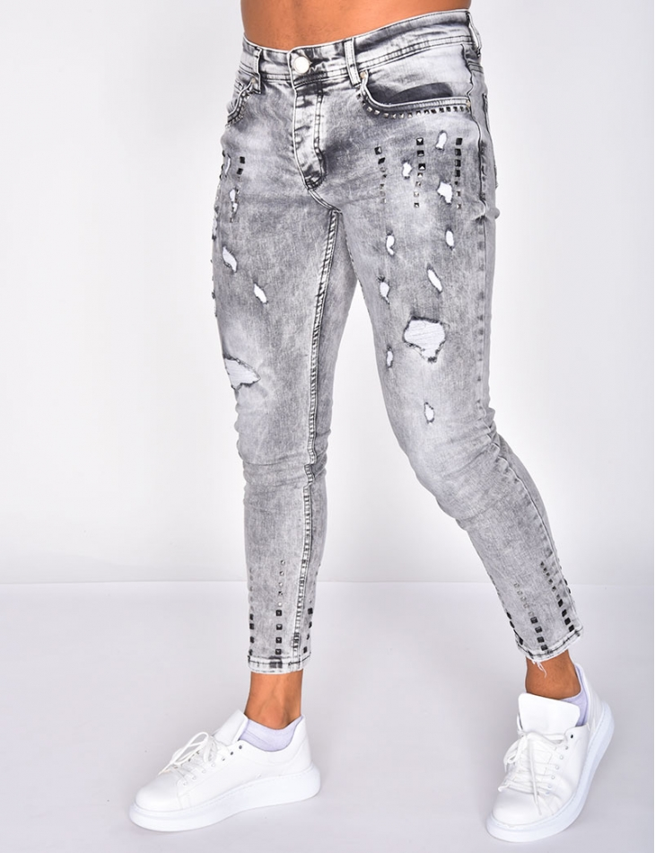 Ripped Jeans with Studs