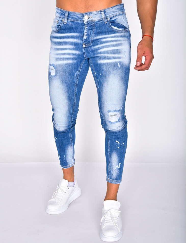 Ripped Speckled Faded Jeans