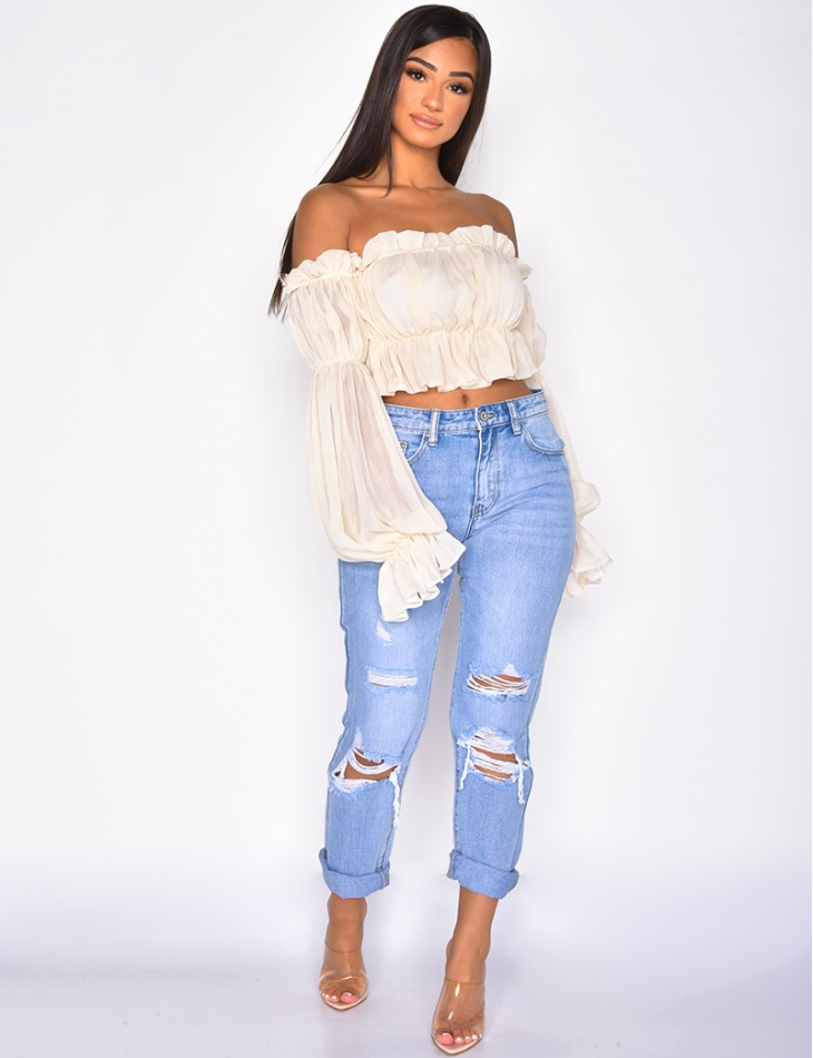 Long Sleeved Loose Fit Crop Top with Ruffles