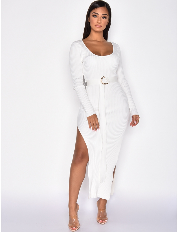 Long Ribbed Dress with Belt