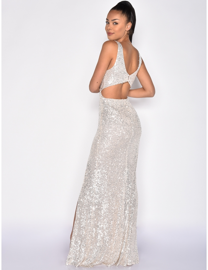 Long Sequin Slit Dress with Open Back