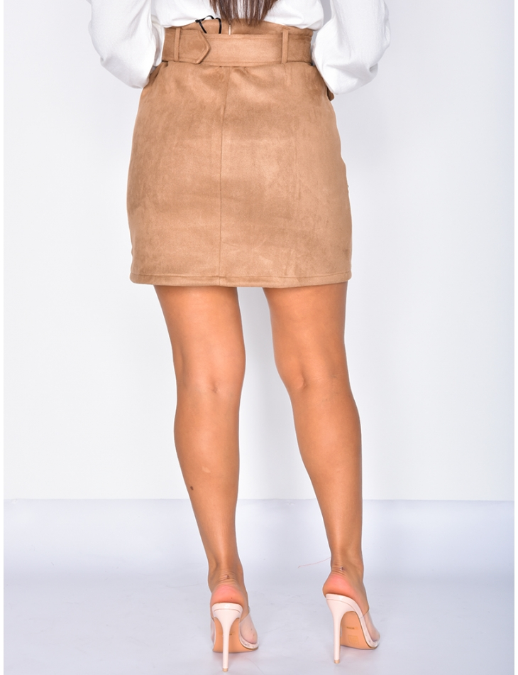 Suedette Skirt with Studs and Belt