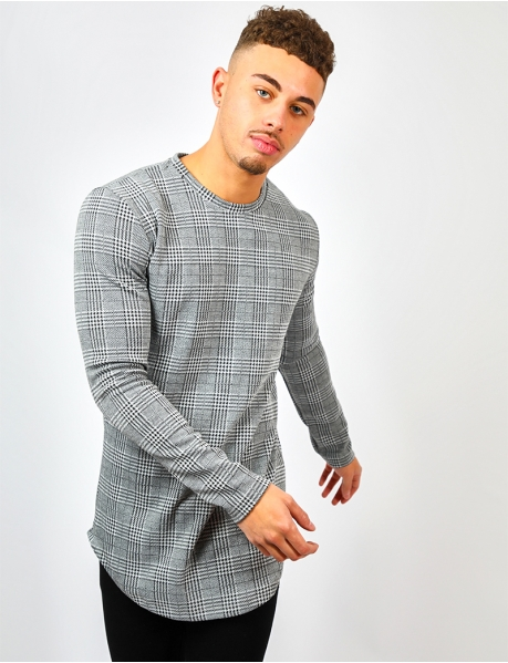 Long Sleeved Checked T-shirt