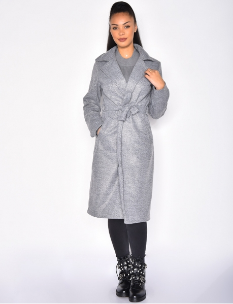 Manteau long à ceinture