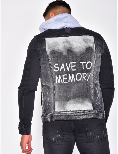 "Veste en jeans ""SAVE TO MEMORY"""