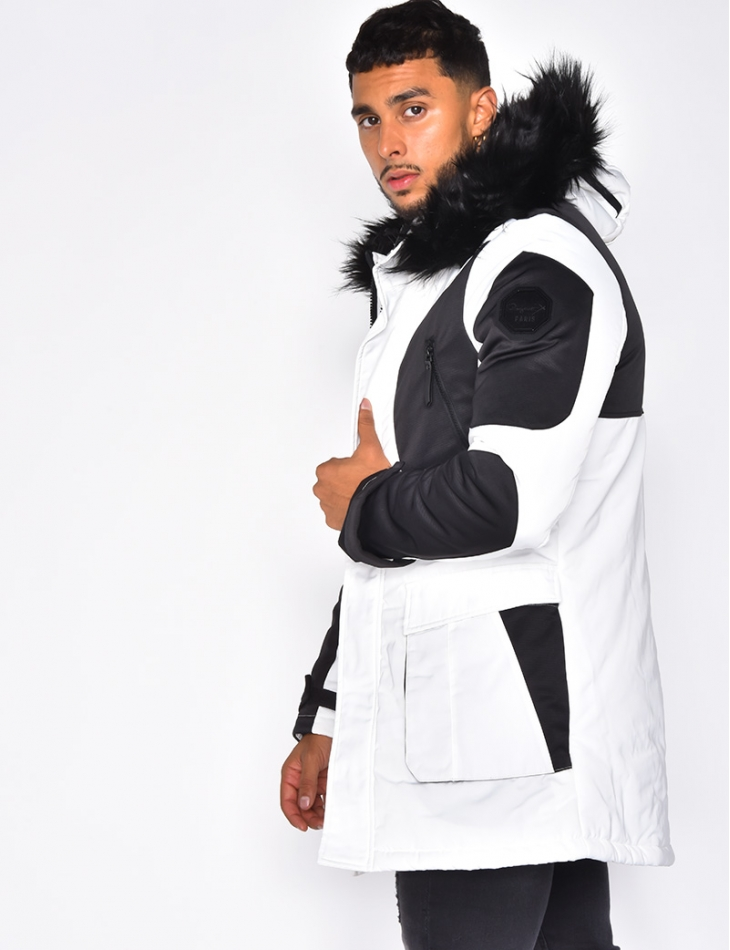 Long Two-Coloured Parka
