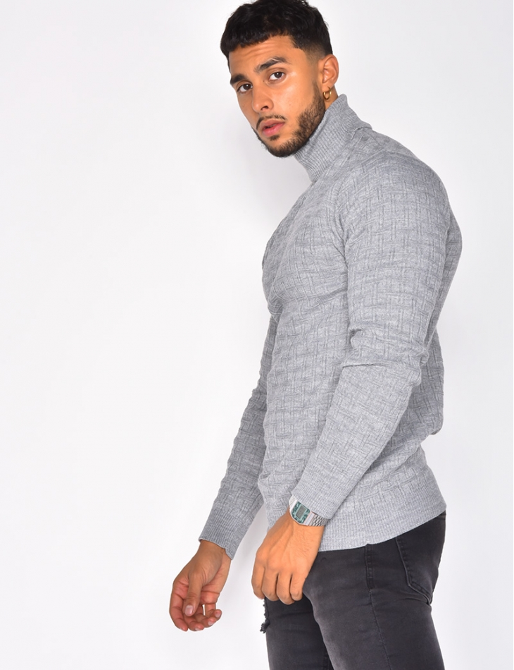 Polo Neck Jumper with Raised Geometric Pattern