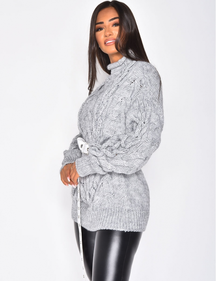 High Neck Cable Knit Wool Jumper