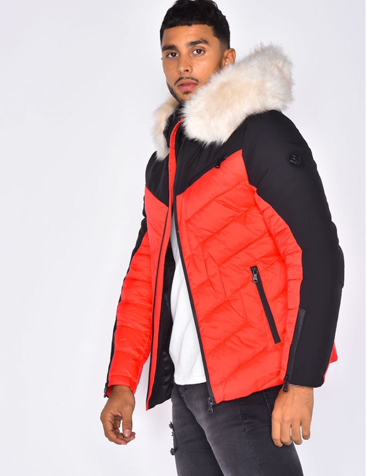 Two-Coloured Padded Jacket with Fur Hood