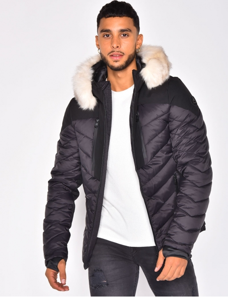 Padded Jacket with Fur Hood