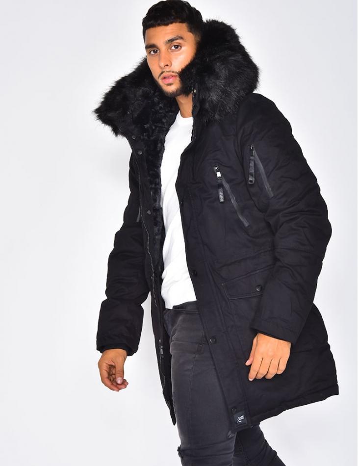 Fur-Lined Parka with Fur Hood