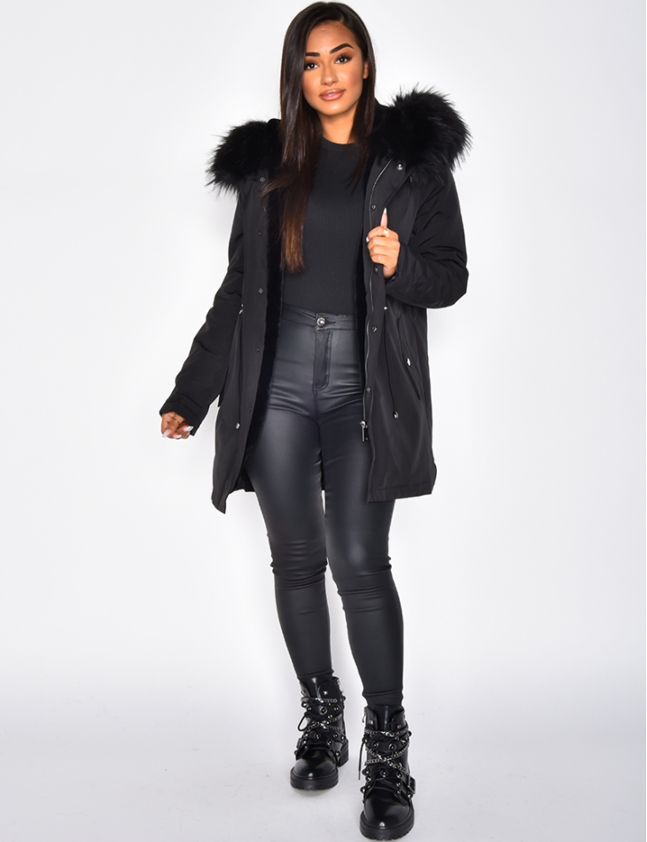 Fur-Lined Parka with Fur Hood