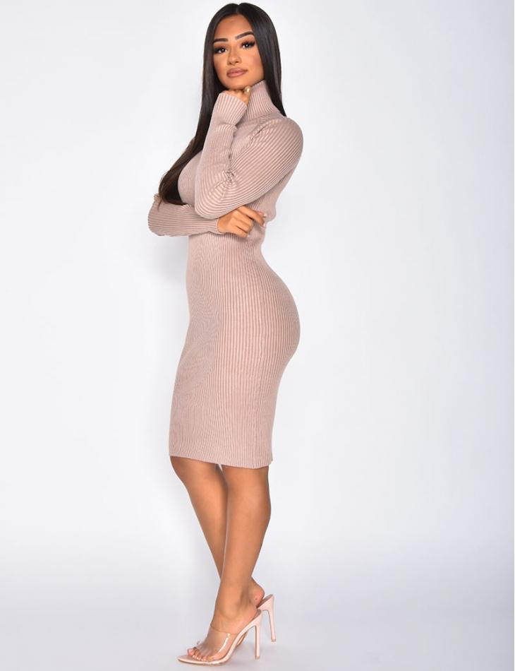 Long Sleeved Ribbed Jumper Dress