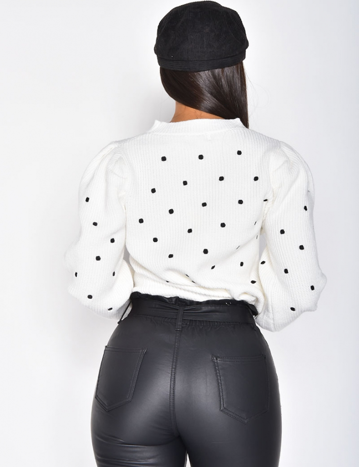 Polka Dot Jumper with Puff Sleeves