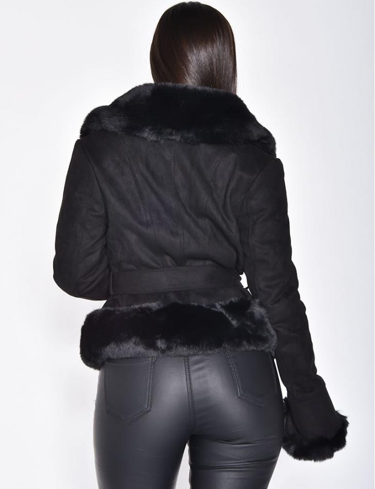 Veste courte en suédine à fourrure