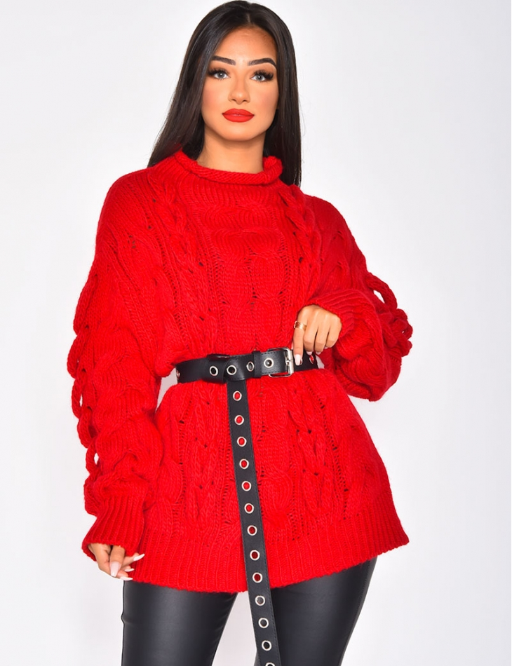 Pull en laine torsadée col montant