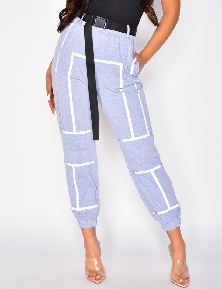 Jogging Bottoms with Reflective Stripes and Belt