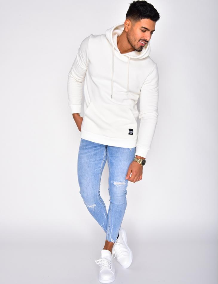 """""""SAW"""" Sweatshirt with Hood and Fleece Lining"""