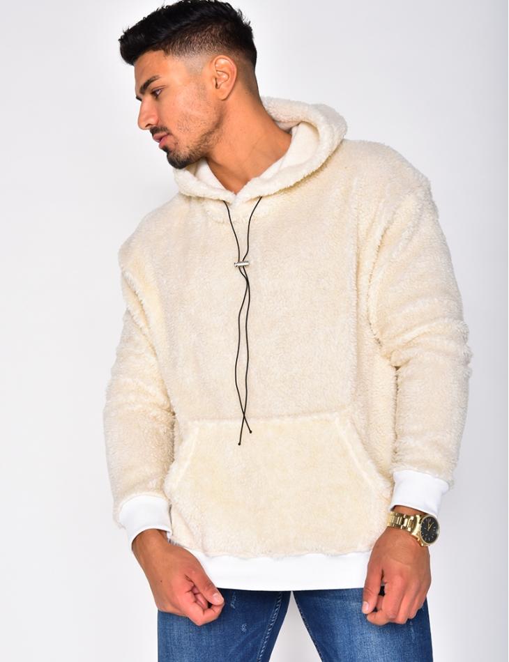 Faux Fur Sweatshirt with Hood
