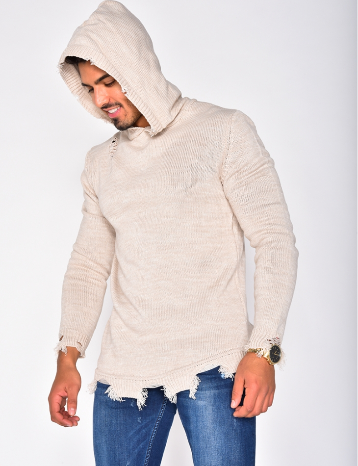 Ripped Jumper with Hood