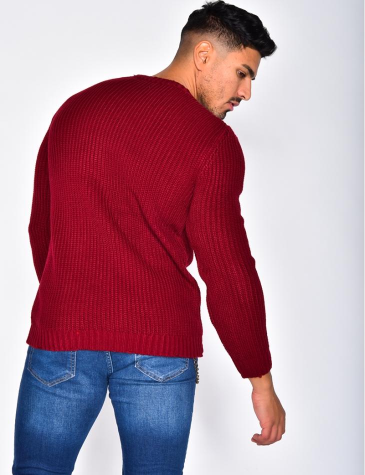 Ripped Wool Jumper with Round Neckline