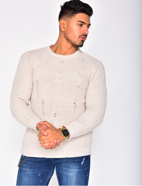 Ripped Wool Jumper with Round Neckline