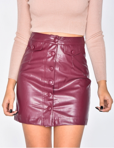 PU Leather Skirt with Buttons