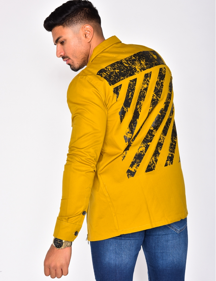 Jacket with Pockets and Print on the Back