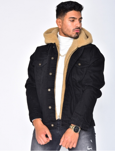 Sheepskin-Style Denim Jacket with Hood