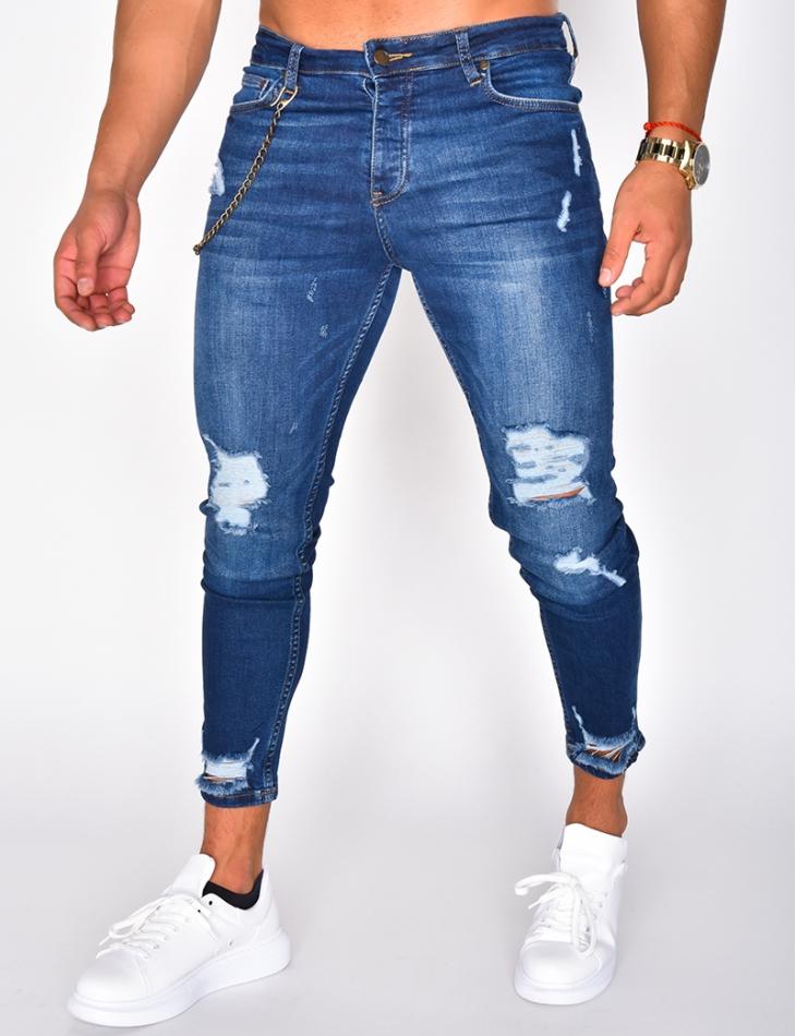 Jeans destroy à chaine