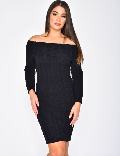 Long Sleeved Cable Knit Jumper Dress