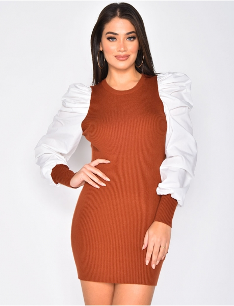Ribbed Jumper Dress with Puff Sleeves