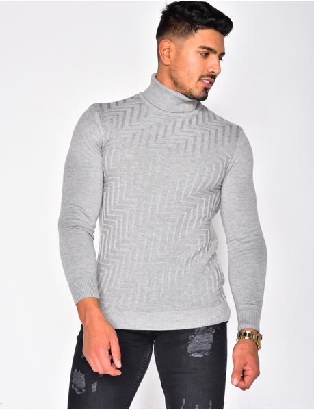 Polo Neck Jumper with Pattern