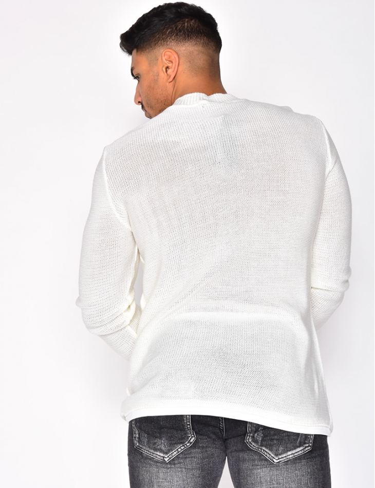 Round Neck Jumper with Ripped Sleeves