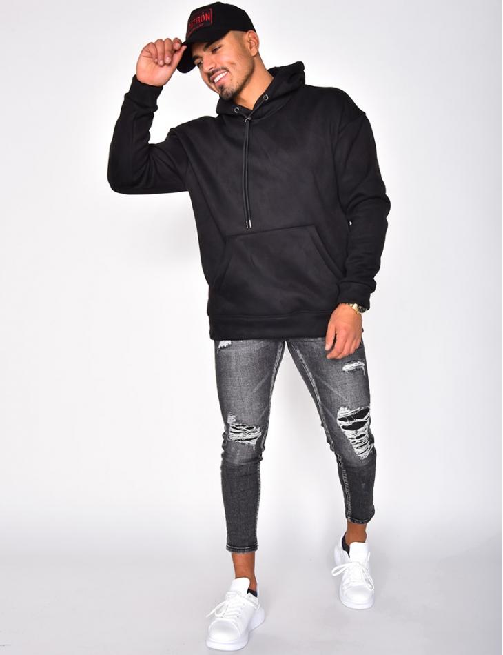 Sweatshirt with Fur-Lined Hood