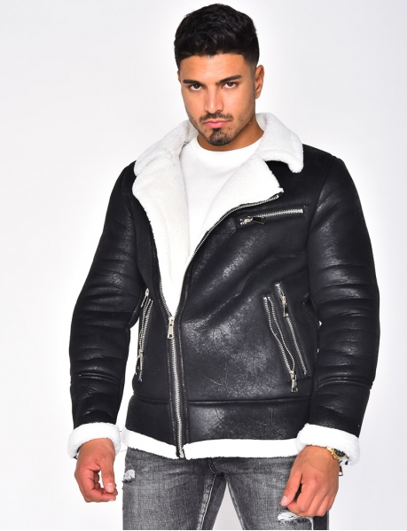 Fur-Lined Bomber Jacket with Zip