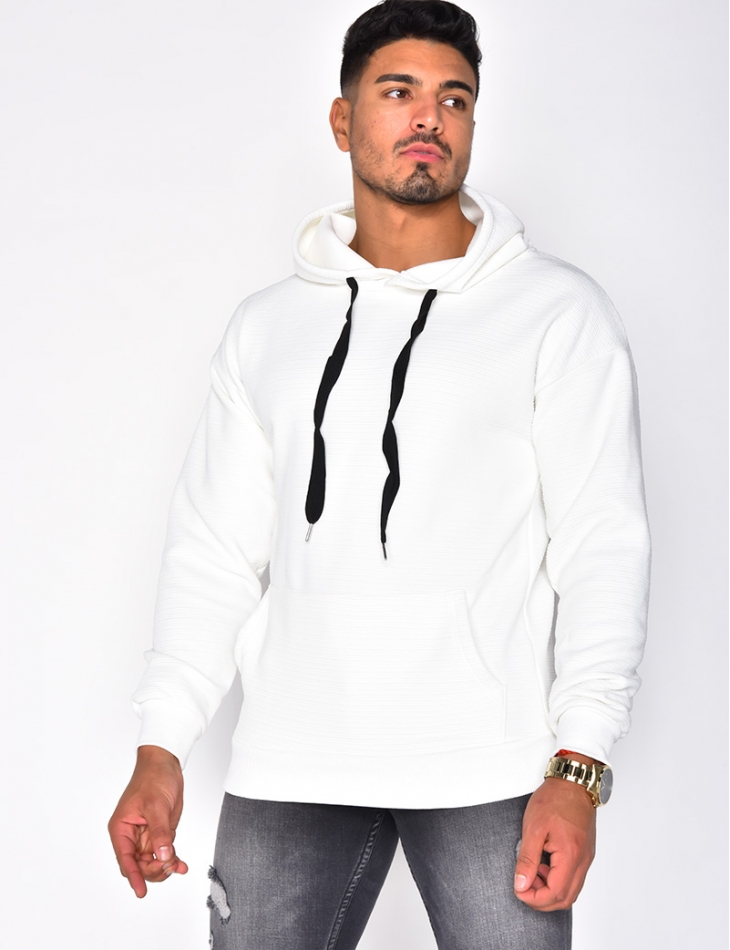 Textured Sweatshirt with Hood