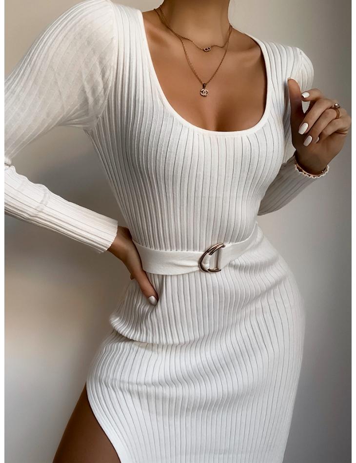 Robe longue côtelé à ceinture