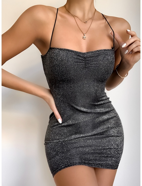 Glittery Bodycon Dress with Lace Up Back