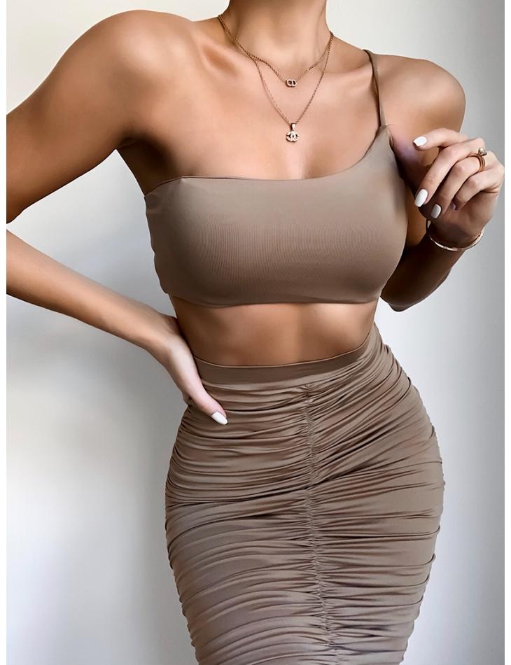 Ensemble crop-top et jupe longue froncée