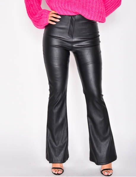 PU Leather High Waisted Bell Bottom Trousers