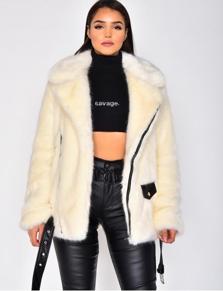 Premium Faux Fur Jacket with Zips