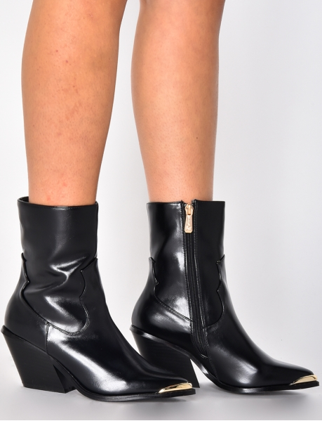 PU Leather Heeled Ankle Boots