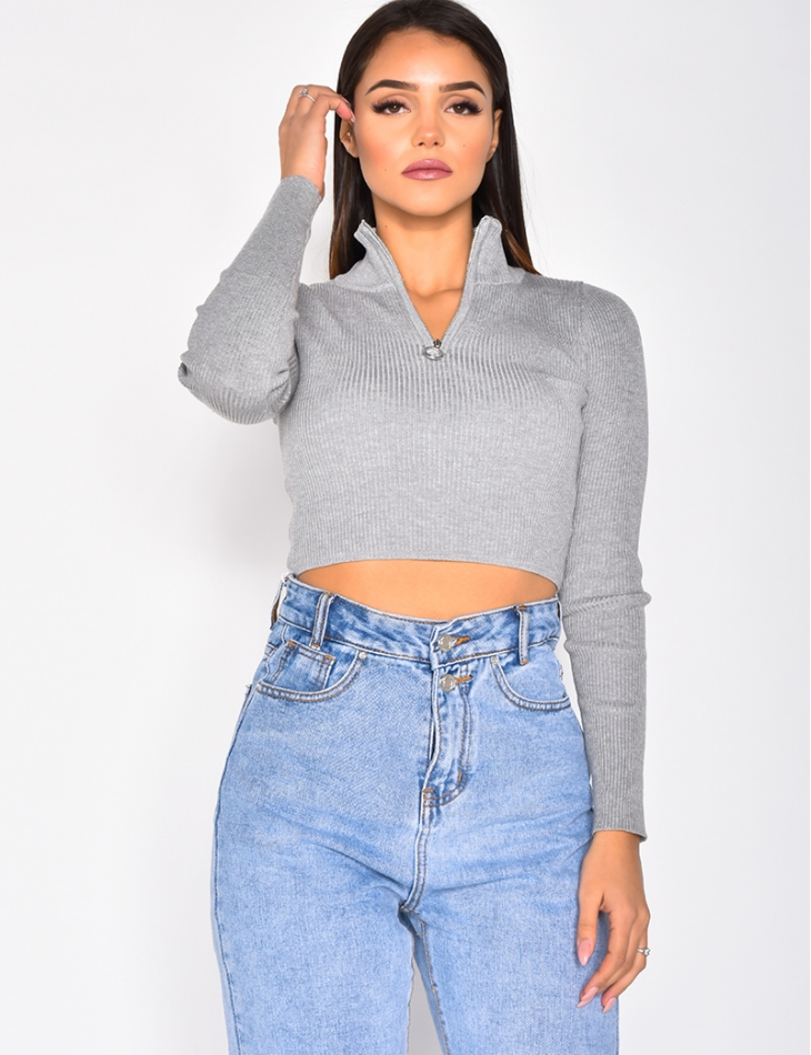 Ribbed Jumper with Zip