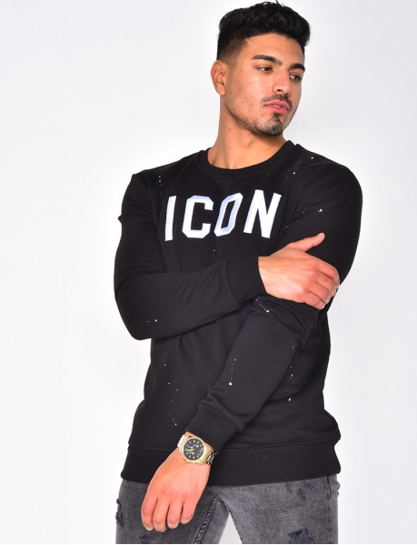 """ICON"" Sweatshirt with Round Neckline"