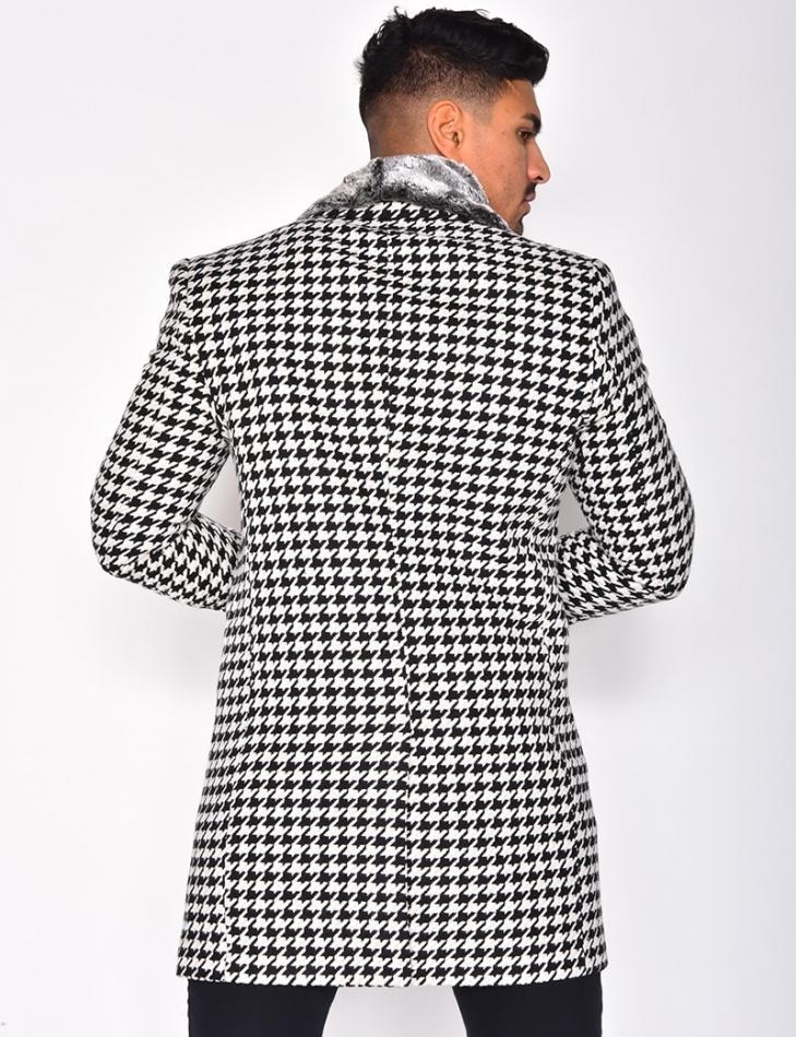 Houndstooth Jacket with Fur Collar