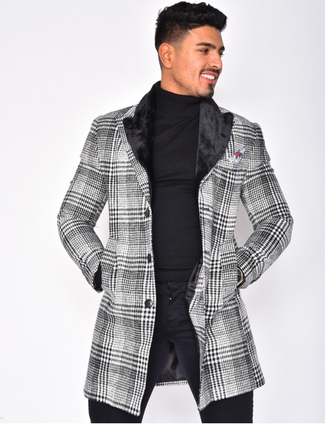 Checked Jacket with Fur Collar