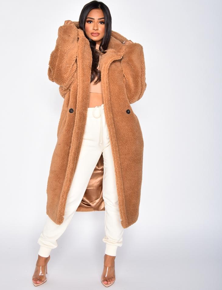 Manteau mi long en fausse fourrure à capuche